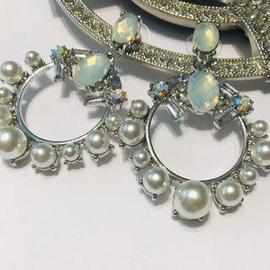 Jessica McClintock pearl & rhinestone earrings